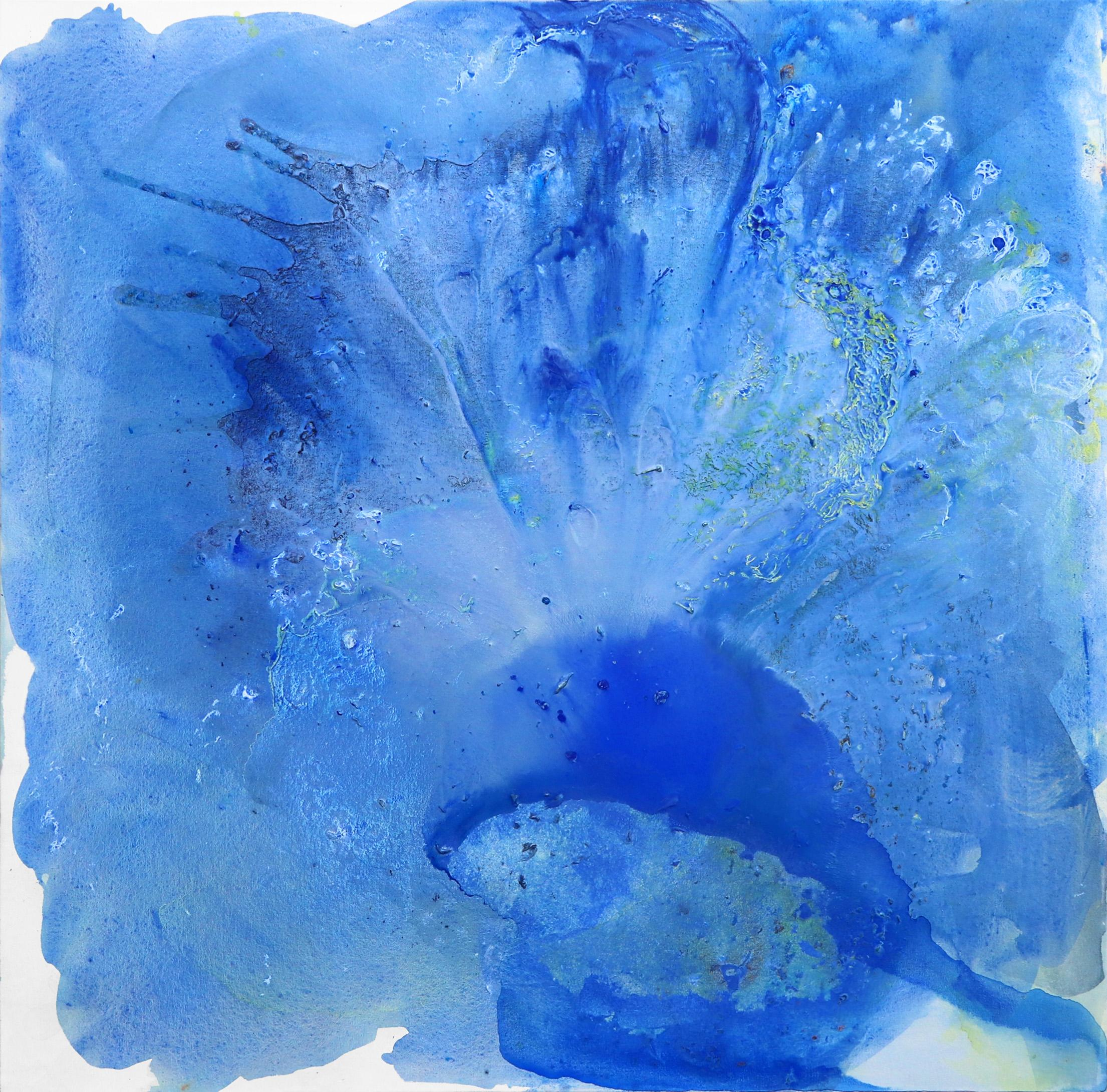 Inside the Space - Calm Blue Abstract Waterscape and Sky Painting