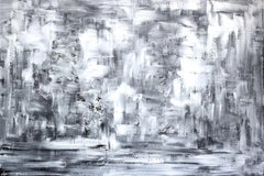 Memories - Large Horizontal Black and White Abstract Wall Artwork on Canvas