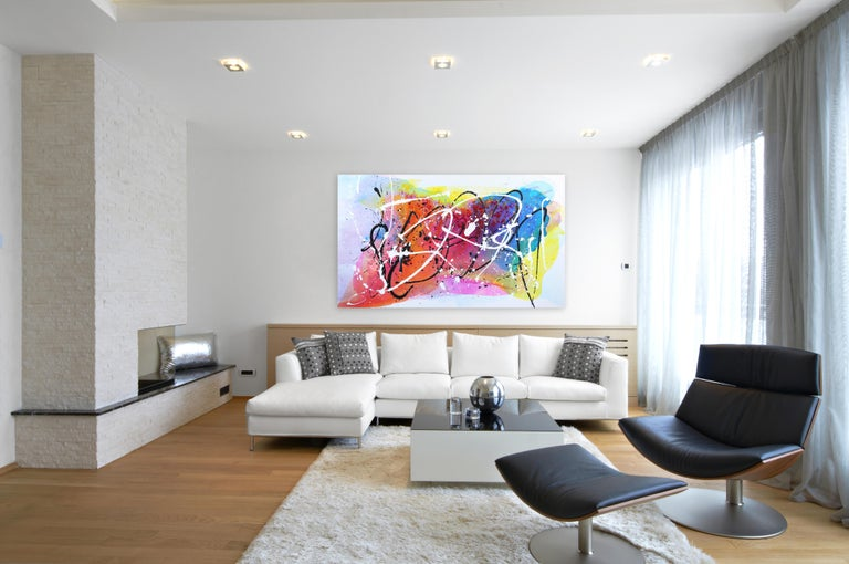 Monet Fields - Oversized Energetic Colorful Original Artwork on Canvas - Abstract Expressionist Mixed Media Art by Clara Berta