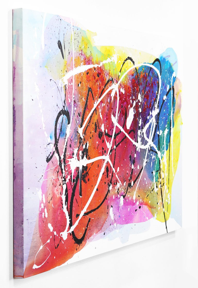 Monet Fields - Oversized Energetic Colorful Original Artwork on Canvas For Sale 1