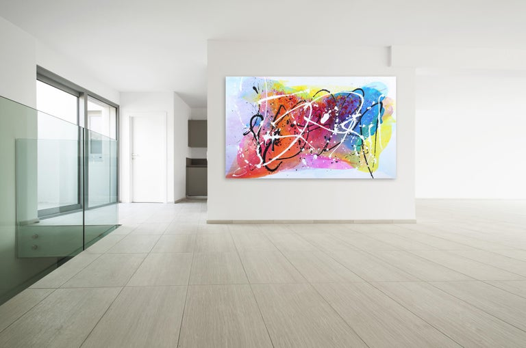 Monet Fields - Oversized Energetic Colorful Original Artwork on Canvas For Sale 3