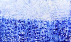 Oceanic Escape - Large Textured Blue and White Abstract Painting