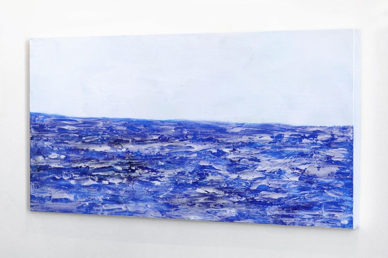 Oceanside - Blue Abstract Painting by Clara Berta