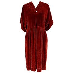 Clara Collins Paris Red Silk Velvet Oversized Dress