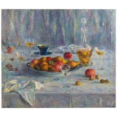 Clara Klinghoffer Still Life of Fruit Set Upon a Table, Oil on Canvas