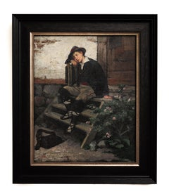 The Young Street Musician by Clara Löfgren, 1879, Oil on Panel, Signed
