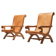 Clara Porset  'Butaque' Chairs in Cognac Leather