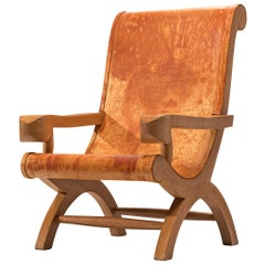 Clara Porset Butaque Lounge Chair in Cognac Leather