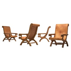 Clara Porset Four Butaque Lounge Chairs in Cognac Leather
