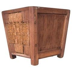 Mexican Modernist Solid Mahogany & Seagrass Waste Basket Michael Van Beuren
