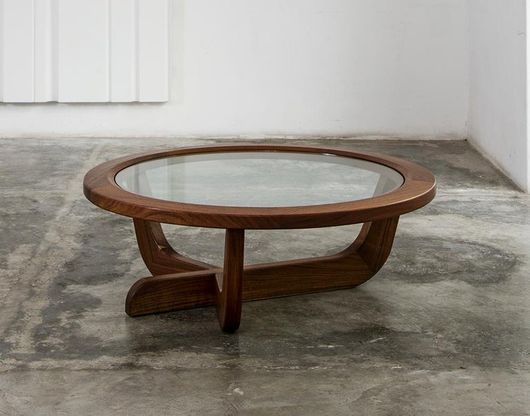 Mexican Clara Porset Modernist CP003 Solid Walnut and Glass Coffee Table by Luteca For Sale