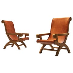 Clara Porset Pair of Butaque Armchairs in Original Cognac Leather
