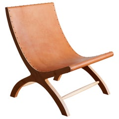 Clara Porset's Wood and Hide Butaque Chair, Licensed Reedition by Luteca