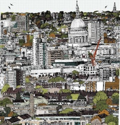 Changing Seasons at St Pauls by Clare Halifax, London Illustration Art, Bright