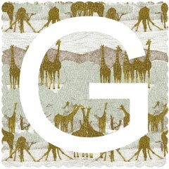 Clare Halifax, G is for Giraffe, Limited Edition Art, Stamp Art, Animal Art