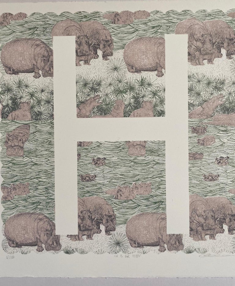 Clare Halifax, H is for Hippo, Limited Edition Artwork, Bright Art, Animal Art - Gray Animal Print by Clare Halifax