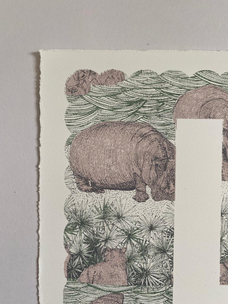 Clare Halifax H is for Hippo Limited Edition 3colour screen print Edition of 100 Sheet Size: H 38cm x W 37cm x 0.1cm Sold Unframed Hand printed by the artist onto somerset satin paper 300gms with deckle edge. Please Note that in situ images are