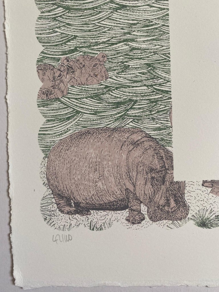 Clare Halifax, H is for Hippo, Limited Edition Artwork, Bright Art, Animal Art 1