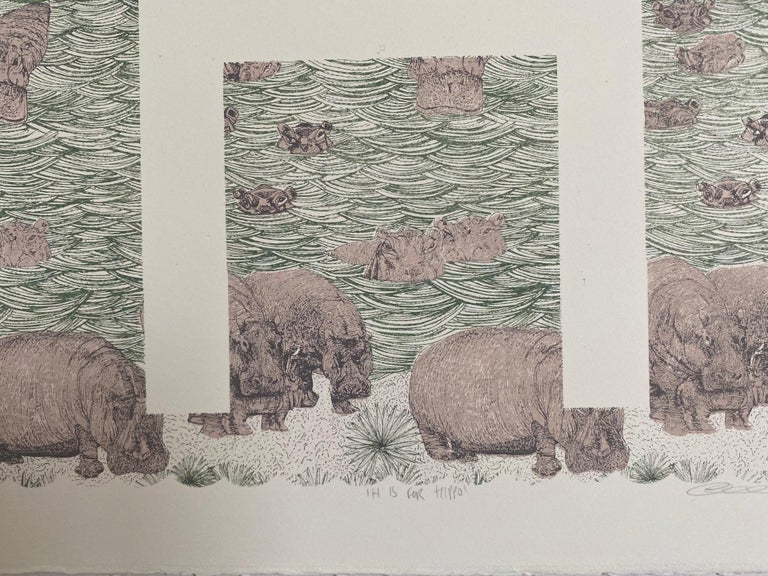 Clare Halifax, H is for Hippo, Limited Edition Artwork, Bright Art, Animal Art 4