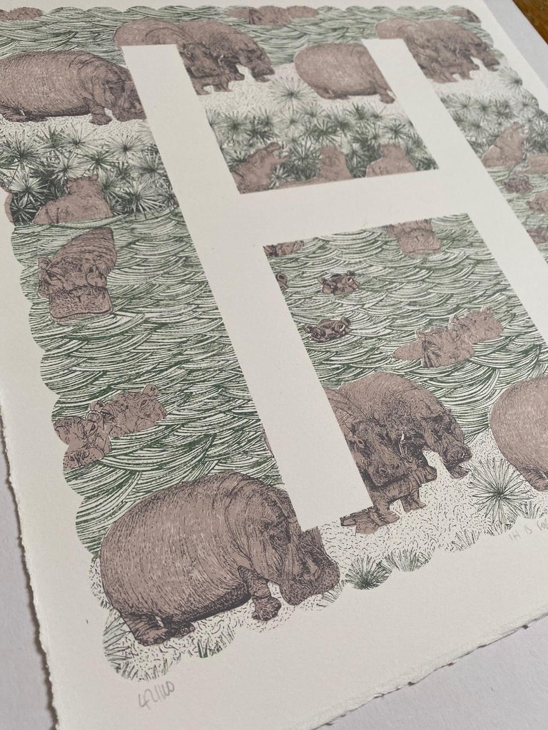 Clare Halifax, H is for Hippo, Limited Edition Artwork, Bright Art, Animal Art 5