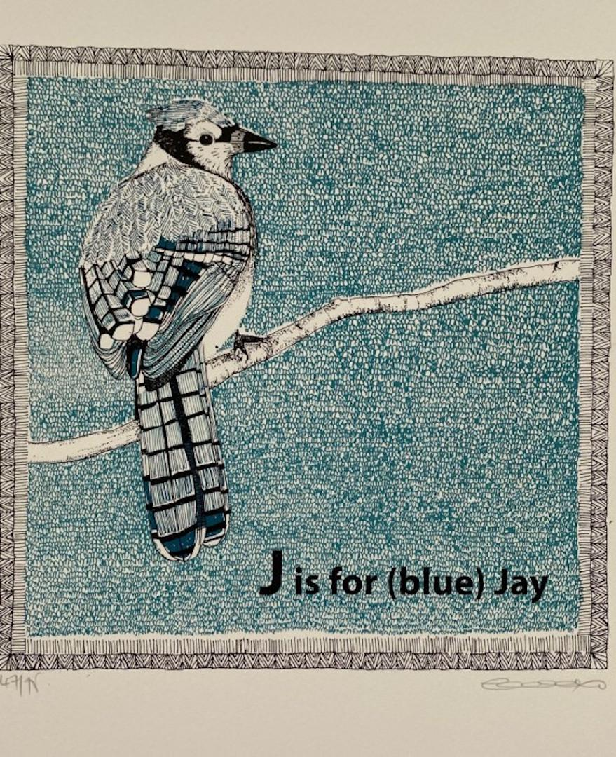 Clare Halifax, J is for (Blue) Jay, Limited Edition Print, Bird Art