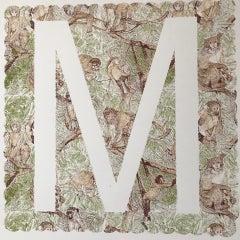 Clare Halifax, M is for Monkey, Animal Art, Alphabet Print, Monogram Print