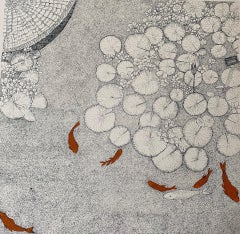 Clare Halifax, Orange Fishy, Water Lily, Black and White Art, Orange Art