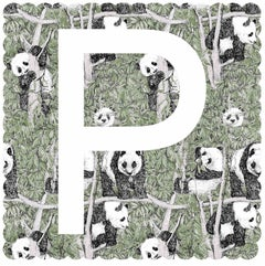 Clare Halifax, P is for Panda, Affordable Contemporary Art, Alphabet Prints