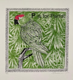 Clare Halifax, P is for Parrotm, Limited Edition Screen Print, Animal Art