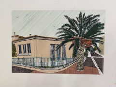 Clare Halifax, Pink House and Palm, La Palme, Limited Edition Architecture Print