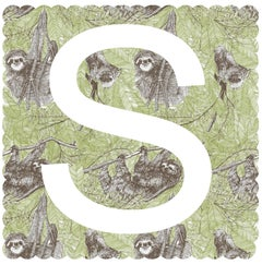Clare Halifax, S is for Sloth, Affordable Art, Animal Art, Chidren's Art
