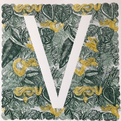 Clare Halifax, V is for Viper, Limited Edition Animal Art, Bright Monogram Print
