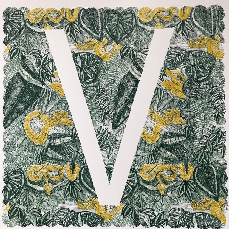 Clare Halifax, V is for Viper, Limited Edition Animal Art, Bright Monogram Print - Gray Animal Print by Clare Halifax