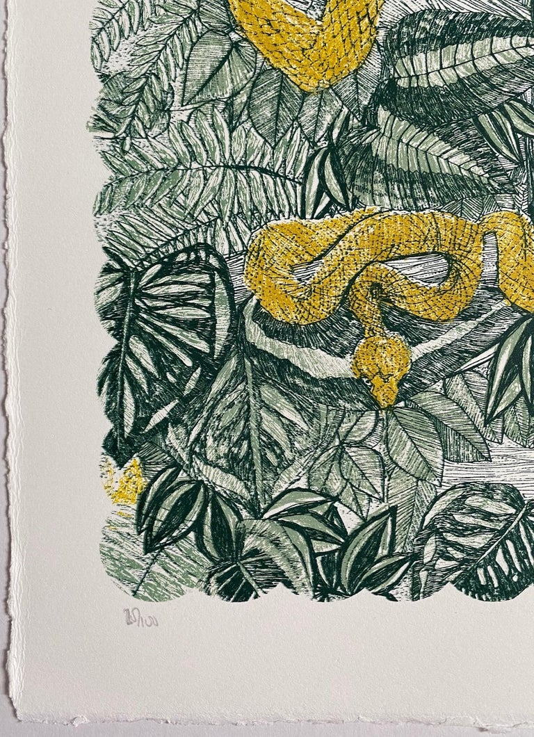 Clare Halifax, V is for Viper, Limited Edition Animal Art, Bright Monogram Print For Sale 1