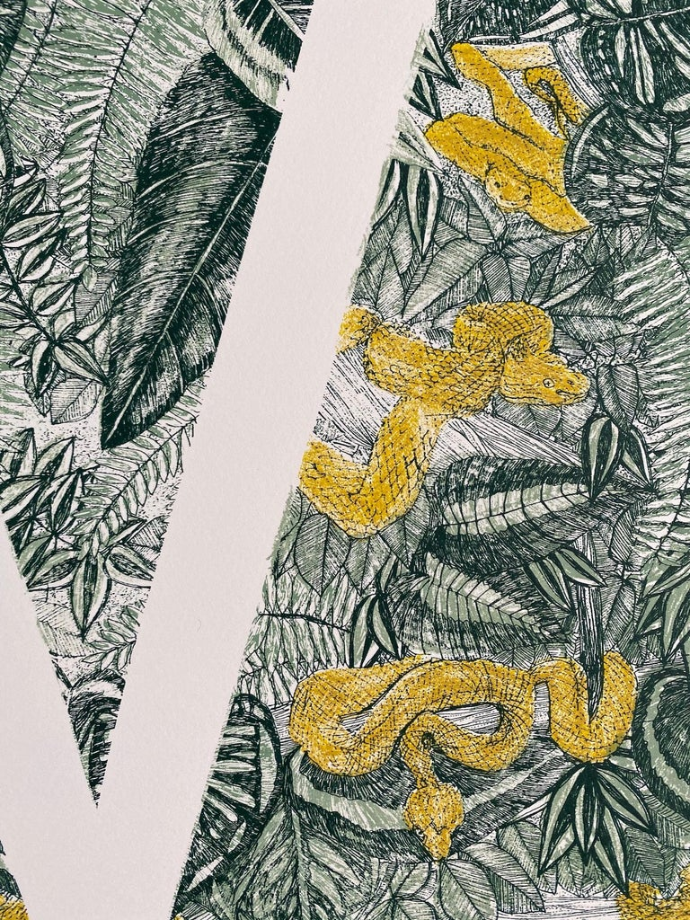Clare Halifax, V is for Viper, Limited Edition Animal Art, Bright Monogram Print For Sale 3