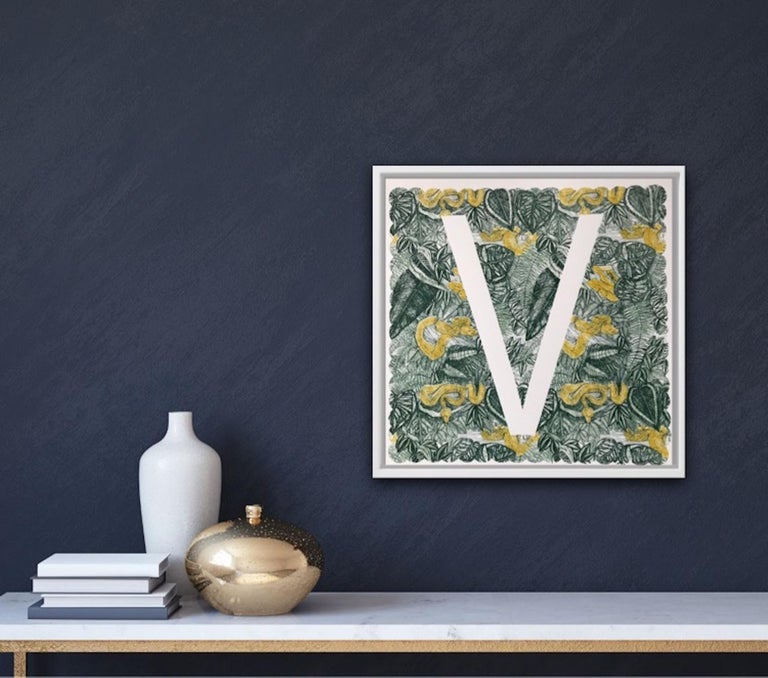 Clare Halifax, V is for Viper, Limited Edition Animal Art, Bright Monogram Print For Sale 5