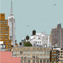 Empire State on the Side, Clare Halifax, Illustration Art, Cityscape ScreenPrint