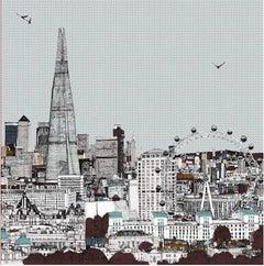 Eyes Up Front, Clare Halifax, Illustration Art, Cityscape Print, London Art