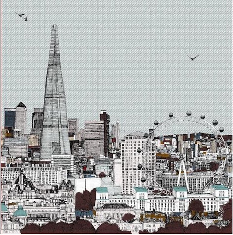 Eyes Up Front, Clare Halifax, Illustration Art, Cityscape Print, London Art - Gray Landscape Print by Clare Halifax