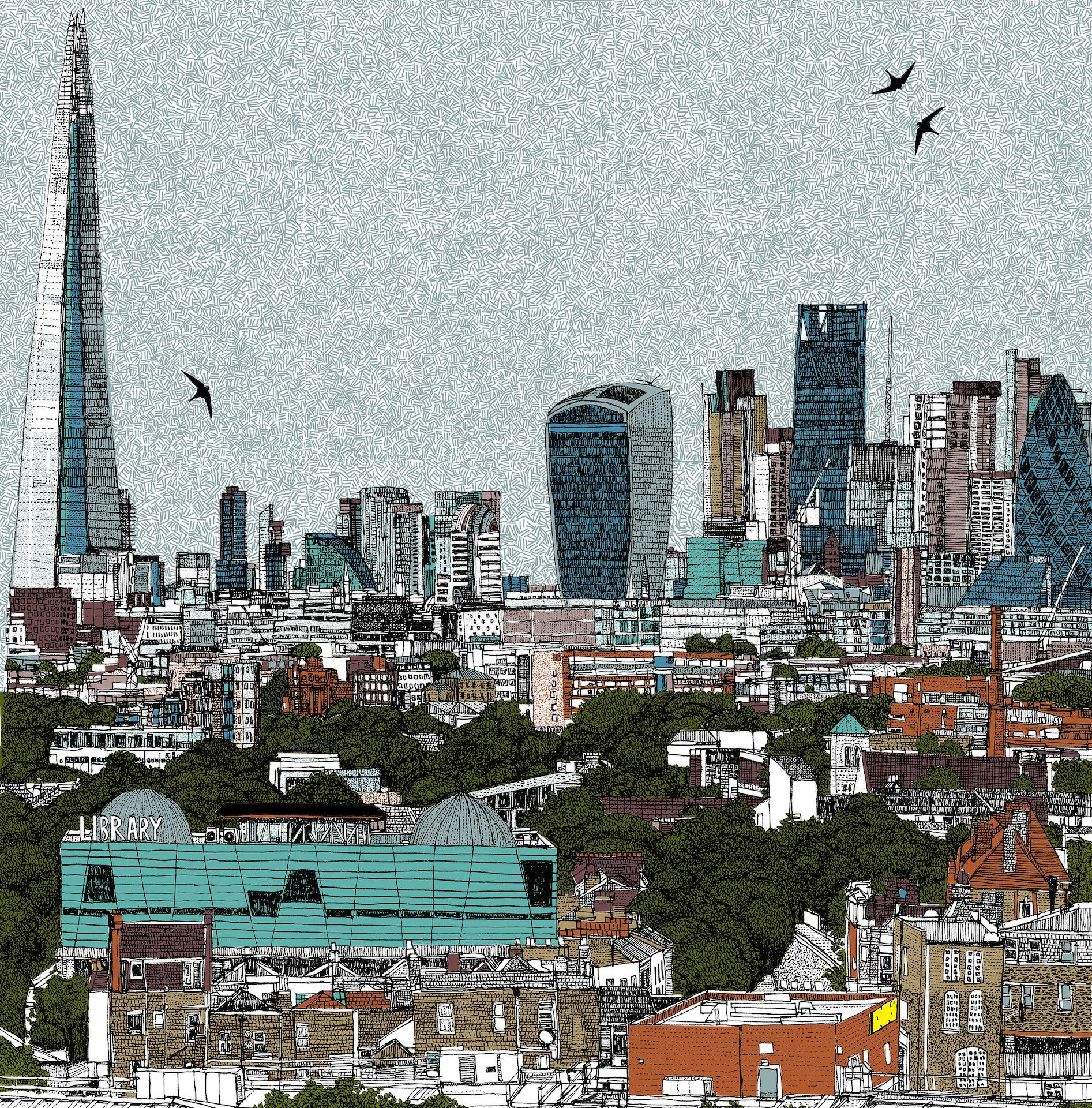 Living and Learning in London by Clare Halifax, Limited Edition Cityscape Print