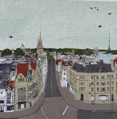 View From Carfax Tower, Oxford BY CLARE HALIFAX, Bright Art, Limited Edition Art