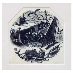 "Clare Leighton Connecticut Artist, Wood Engraving for Wedgewood ""Cod Fishing"""