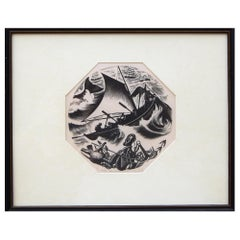 "Clare Leighton Wood Engraving, Design for Wedgewood Titled ""Whaling"""