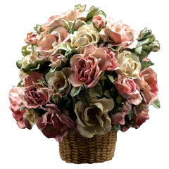 Clare Potter Porcelain Basket with Pink and Cream Roses