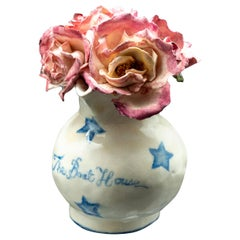 Clare Potter the Boat House Small Porcelain Vase and Pink Roses