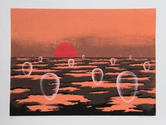 Eschatos #28, Surreal Landscape Serigraph by Clarence Carter