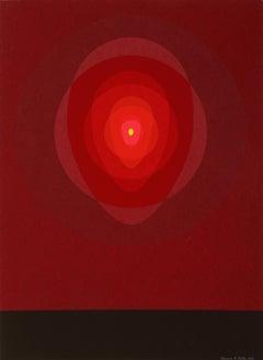 Red Mandala, OP Art Silkscreen by Clarence Carter 1969