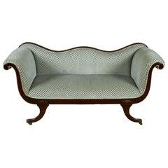 Clarence House Velvet Upholstered Recamier Sofa