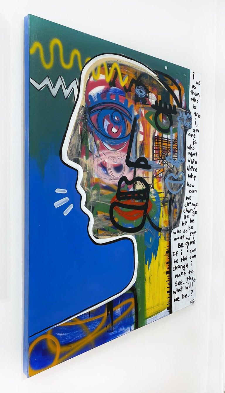 Artist:  James, Clarence Title:  Common Thread Date:  2021 Medium:  Acrylic, aerosol, oil stick on canvas Unframed Dimensions:  48
