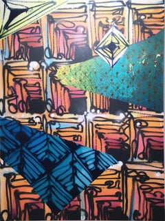 Maelstrom X by street artist Clarence Rich, abstract geometric repeating pattern